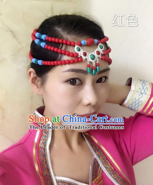 Traditional Handmade Chinese Mongol Nationality Handmade Red Beads Headband, China Mongols Mongolian Minority Nationality Wedding Bride Tassel Headwear Headpiece for Women