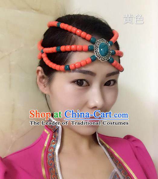 Traditional Handmade Chinese Mongol Nationality Handmade Orange Beads Headband, China Mongols Mongolian Minority Nationality Wedding Bride Headwear Headpiece for Women