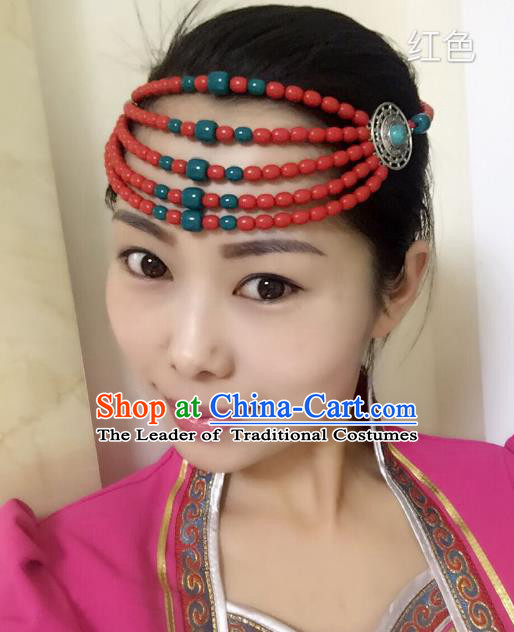 Traditional Handmade Chinese Mongol Nationality Handmade Red Beads Hair Accessories, China Mongols Mongolian Minority Nationality Wedding Headwear for Women
