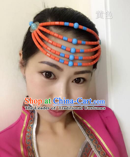 Traditional Handmade Chinese Mongol Nationality Handmade Orange Beads Hair Accessories, China Mongols Mongolian Minority Nationality Wedding Headwear for Women