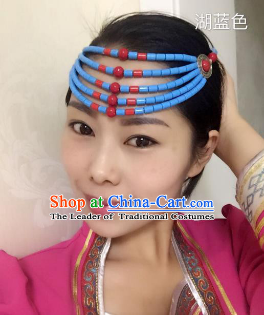 Traditional Handmade Chinese Mongol Nationality Handmade Blue Beads Hair Accessories, China Mongols Mongolian Minority Nationality Wedding Headwear for Women