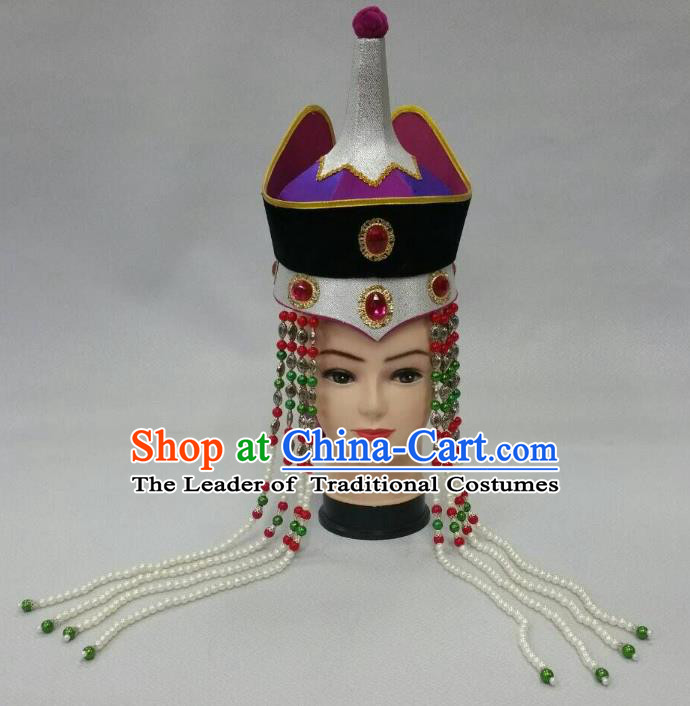 Traditional Handmade Chinese Mongol Nationality Handmade Queen Tassel Hat Hair Accessories, China Mongols Mongolian Minority Nationality Headwear for Women