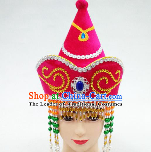 Traditional Handmade Chinese Mongol Nationality Handmade Princess Tassel Rosy Hat Hair Accessories, China Mongols Mongolian Minority Nationality Wedding Headwear for Women