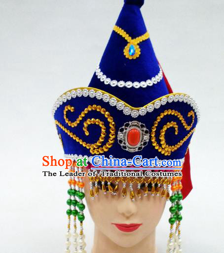 Traditional Handmade Chinese Mongol Nationality Handmade Princess Tassel Royalblue Hat Hair Accessories, China Mongols Mongolian Minority Nationality Wedding Headwear for Women