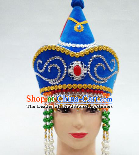 Traditional Handmade Chinese Mongol Nationality Handmade Princess Tassel Blue Hat Hair Accessories, China Mongols Mongolian Minority Nationality Wedding Headwear for Women