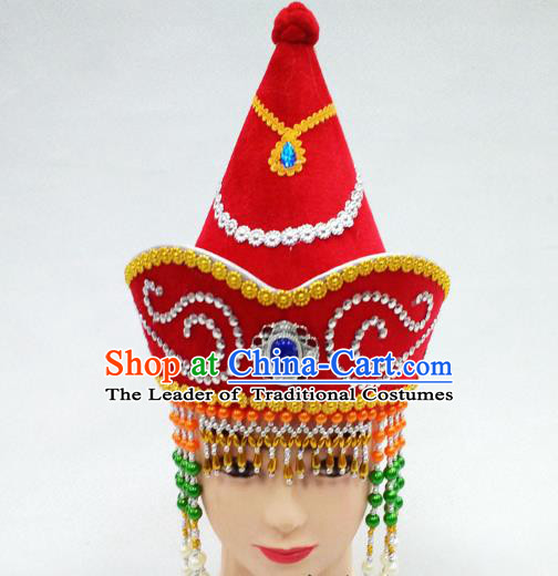 Traditional Handmade Chinese Mongol Nationality Handmade Princess Tassel Red Hat Hair Accessories, China Mongols Mongolian Minority Nationality Wedding Headwear for Women