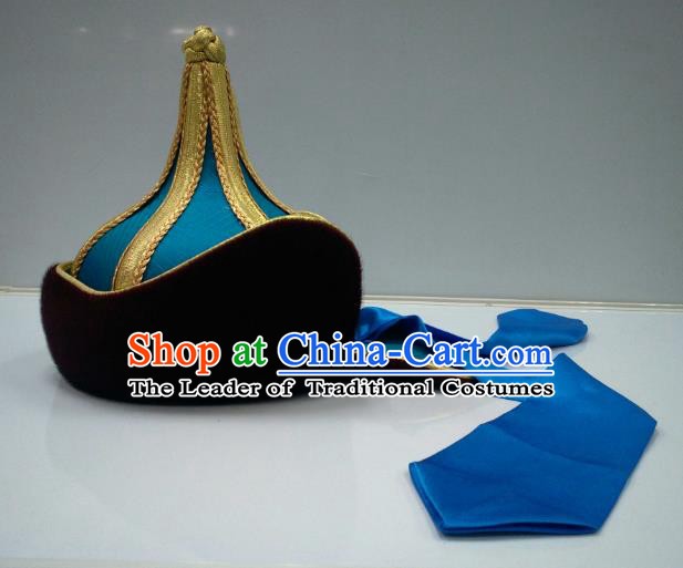 Traditional Handmade Chinese Mongol Nationality Handmade Prince Blue Hat Hair Accessories, China Mongols Mongolian Minority Nationality Bridegroom Headwear for Men