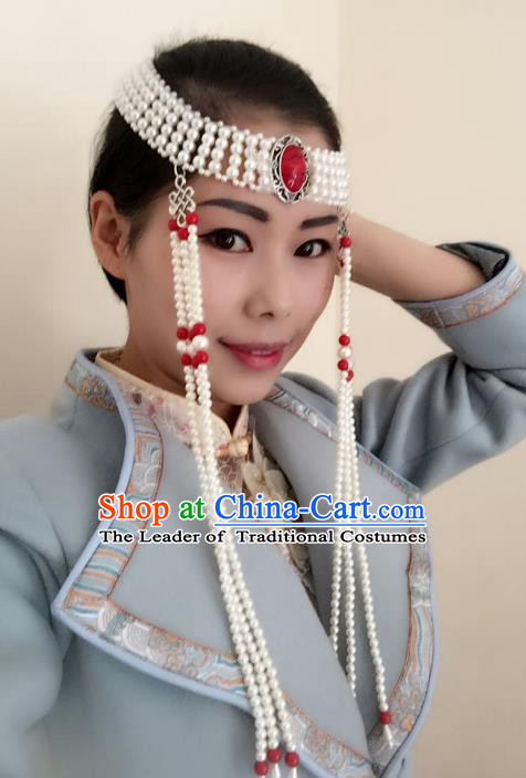 Traditional Handmade Chinese Mongol Nationality Dance Headwear Tassel Headband, China Mongolian Minority Nationality Hair Accessories Headpiece for Women