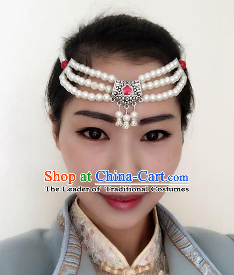 Traditional Handmade Chinese Mongol Nationality Dance Headwear Headband, China Mongolian Minority Nationality Pearls Hair Accessories Headpiece for Women