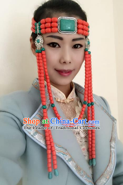 Traditional Handmade Chinese Mongol Nationality Dance Headwear Bride Headband, China Mongolian Minority Nationality Tassel Hair Accessories Headpiece for Women