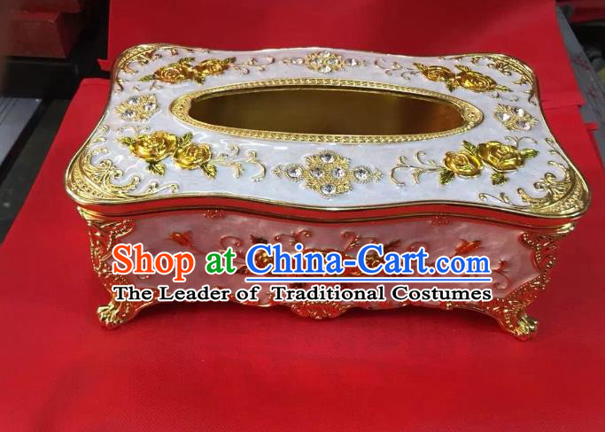 Traditional Handmade Chinese Mongol Nationality Crafts White Tissue Box, China Mongolian Minority Nationality Cloisonne Gilded Paper Holder