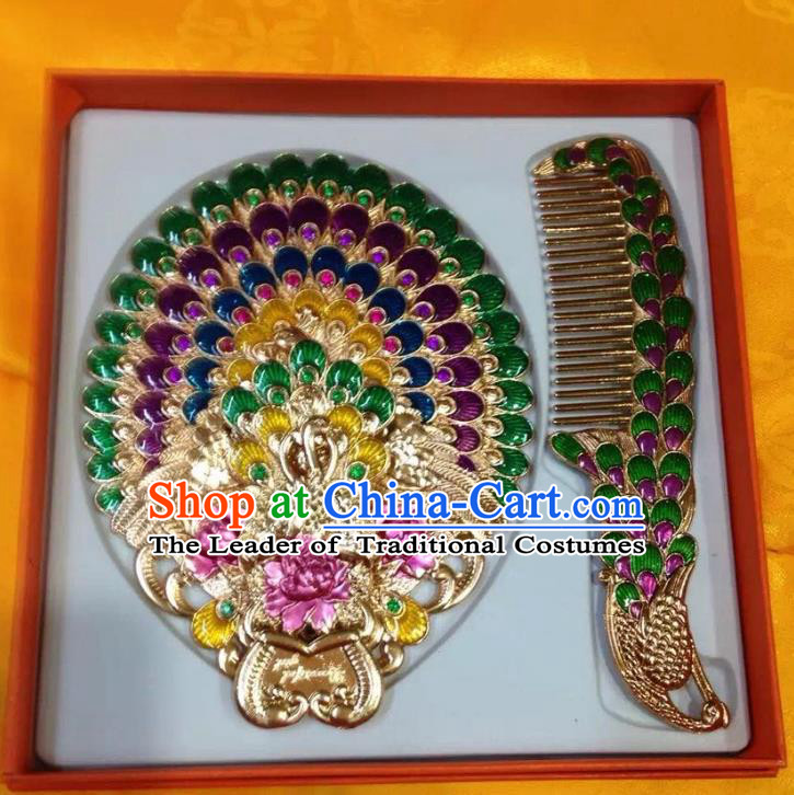 Traditional Handmade Chinese Mongol Nationality Crafts Comb and Green Peacock Pocket Mirror, China Mongolian Minority Nationality Cloisonne Mirror for Women