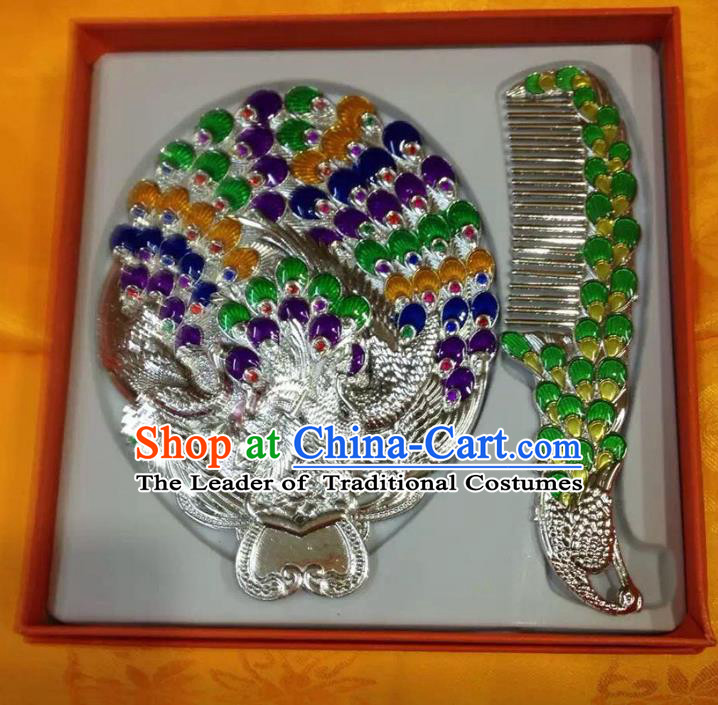 Traditional Handmade Chinese Mongol Nationality Crafts Green Comb and Peacock Pocket Mirror, China Mongolian Minority Nationality Cloisonne Mirror for Women