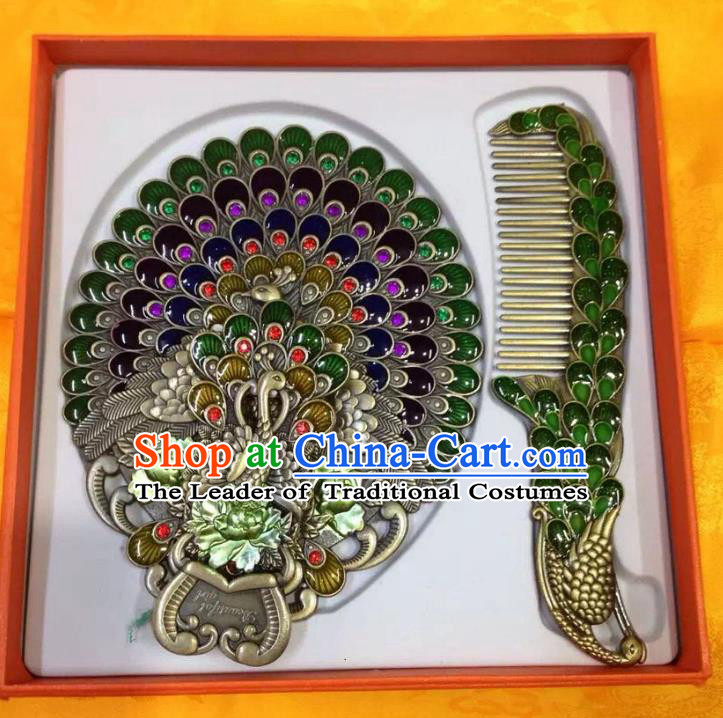 Traditional Handmade Chinese Mongol Nationality Crafts Deep Green Comb and Peacock Pocket Mirror, China Mongolian Minority Nationality Cloisonne Mirror for Women