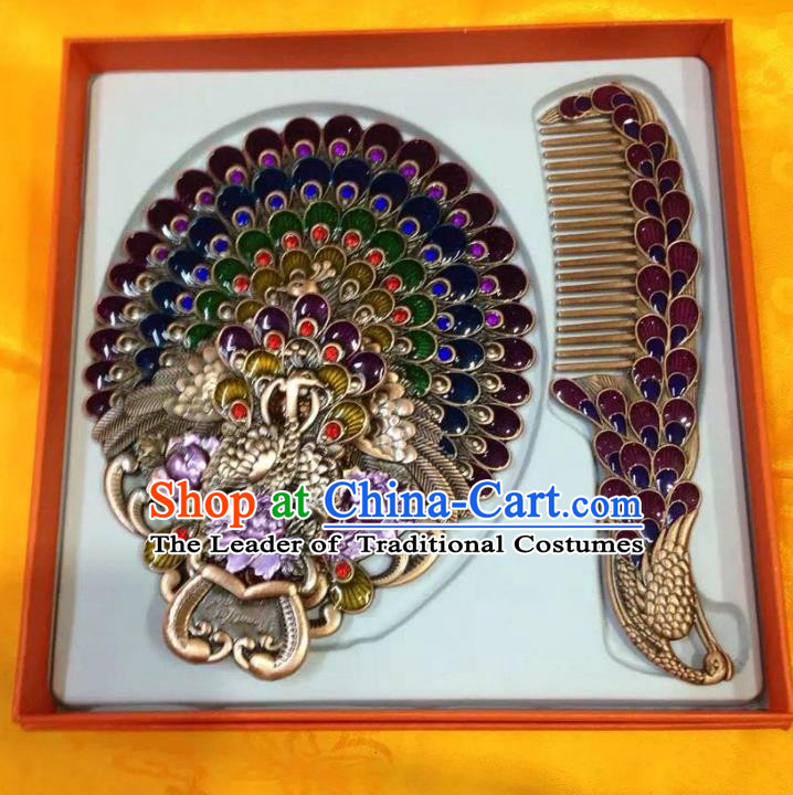 Traditional Handmade Chinese Mongol Nationality Crafts Purple Comb and Peacock Pocket Mirror, China Mongolian Minority Nationality Cloisonne Mirror for Women
