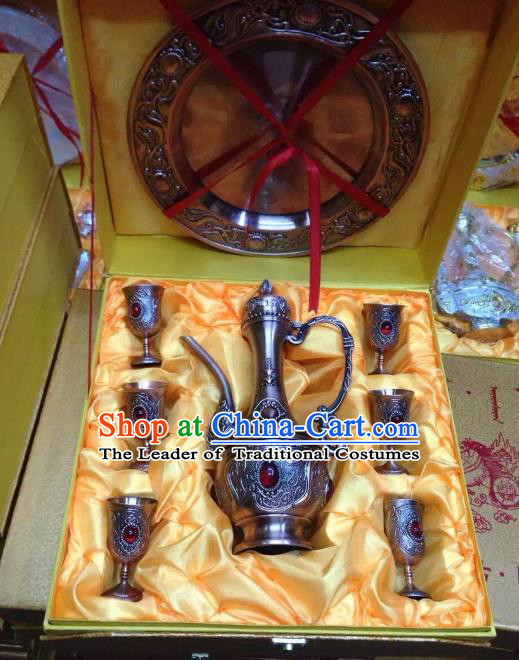 Traditional Handmade Chinese Mongol Nationality Crafts Copper Wine Set, China Mongolian Minority Nationality Flagon and Drinking Cup
