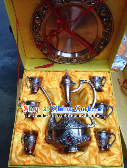 Traditional Handmade Chinese Mongol Nationality Crafts Copper Wine Set, China Mongolian Minority Nationality Carving Flagon and Drinking Cup