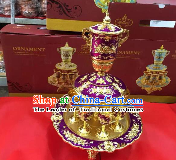 Traditional Handmade Chinese Mongol Nationality Crafts Purple Wine Set, China Mongolian Minority Nationality Cloisonne Carving Flagon and Drinking Cup