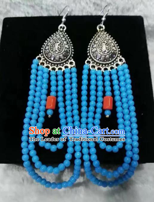 Traditional Handmade Chinese Mongol Nationality Crafts Earrings, China Mongolian Minority Nationality Accessories Blue Beads Eardrop for Women