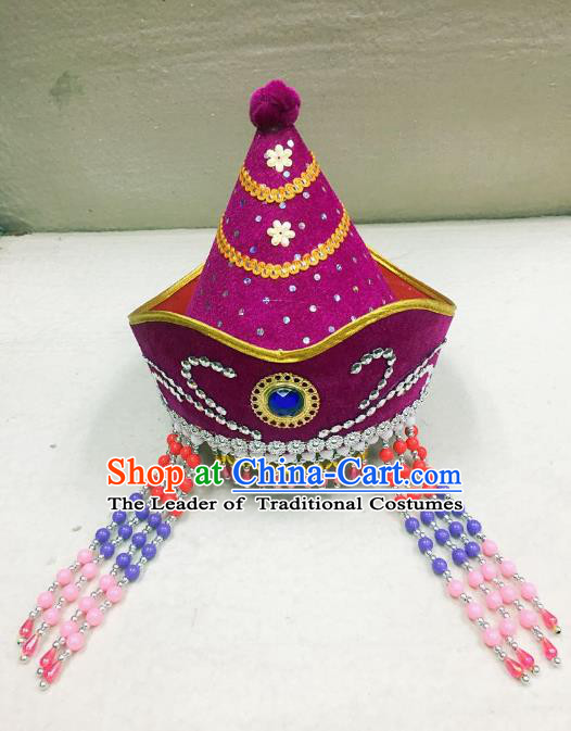 Traditional Handmade Chinese Mongol Nationality Dance Purple Headwear Princess Hat, China Mongols Mongolian Minority Nationality Bride Tassel Headpiece for Women