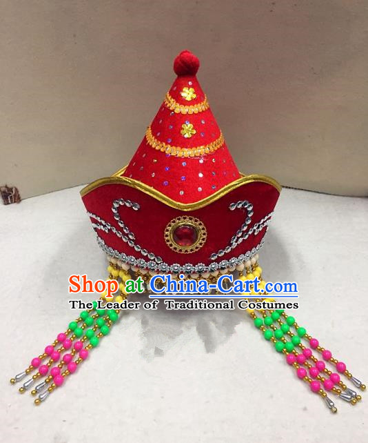Traditional Handmade Chinese Mongol Nationality Dance Red Headwear Princess Hat, China Mongols Mongolian Minority Nationality Bride Tassel Headpiece for Women