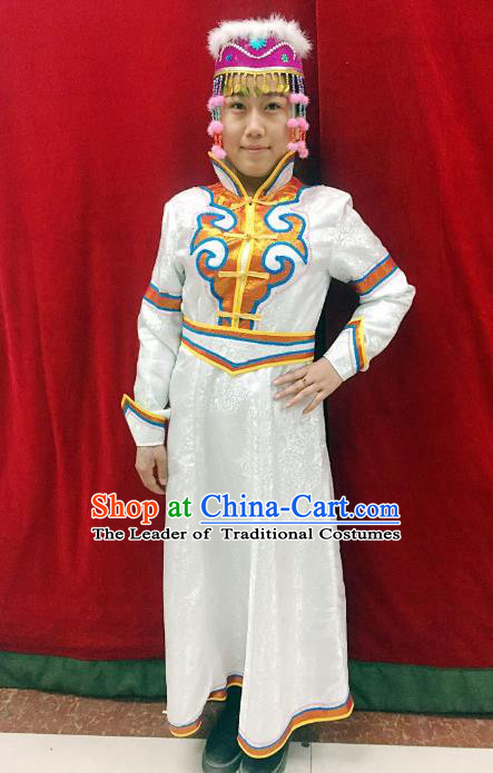 Traditional Chinese Mongol Nationality Dance Costume Handmade Wedding Bride Mongolian Robe, China Mongolian Minority Nationality White Dress Clothing for Women