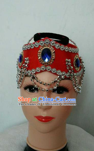 Traditional Handmade Chinese Mongol Nationality Dance Red Headwear, China Mongols Mongolian Minority Nationality Bride Hair Accessories Headpiece for Women