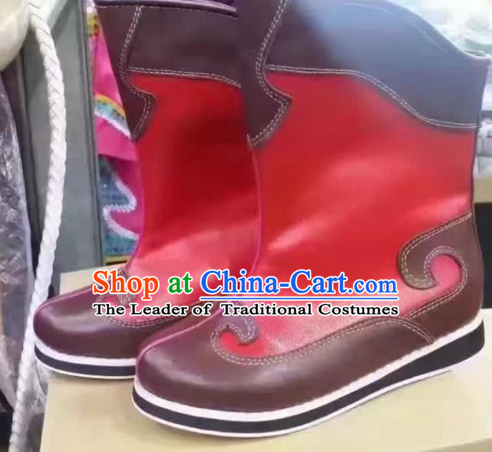 Traditional Chinese Minority Mongol Nationality Dance Red Shoes, Ethnic Minorities Mongolian Boots for Kids