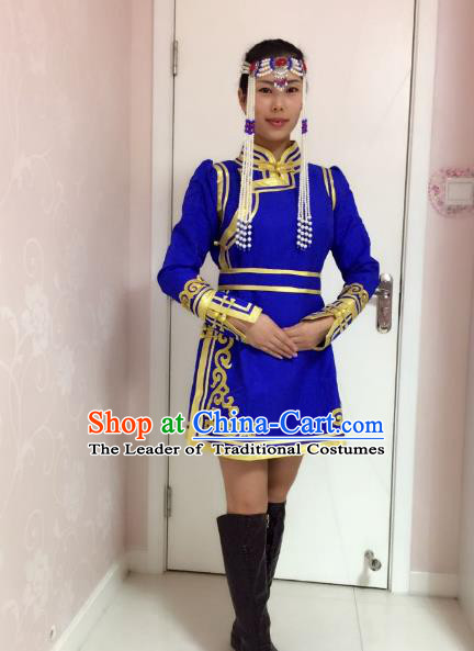 Traditional Chinese Mongol Nationality Dance Costume Handmade Embroidery Mongolian Robe, China Mongolian Minority Nationality Royalblue Dress for Women