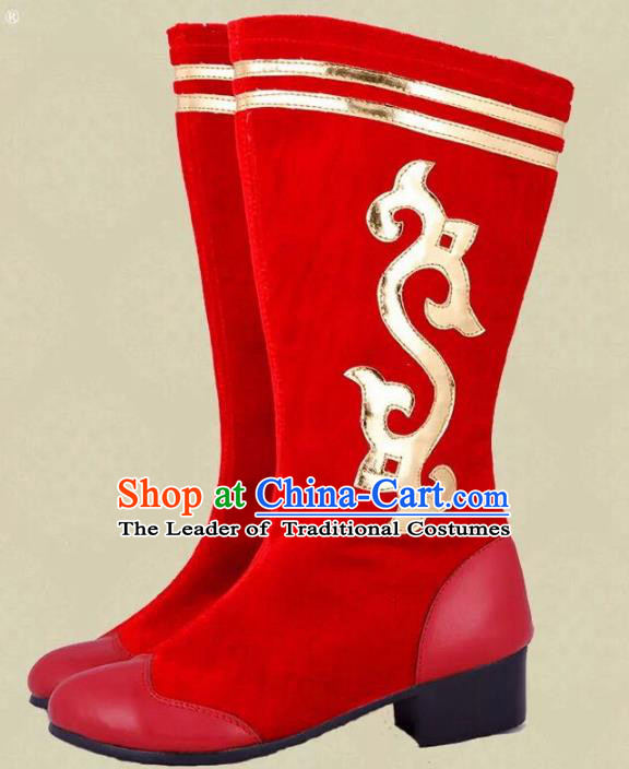 Traditional Chinese Minority Mongol Nationality Dance Red Shoes, Ethnic Minorities Mongolian Wedding Boots Embroidery Boots for Women