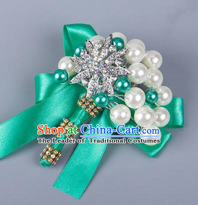 Top Grade Wedding Accessories Decoration Pearl Corsage, China Style Wedding Ornament Champagne Bride Bridegroom Green Ribbon Crystal Brooch