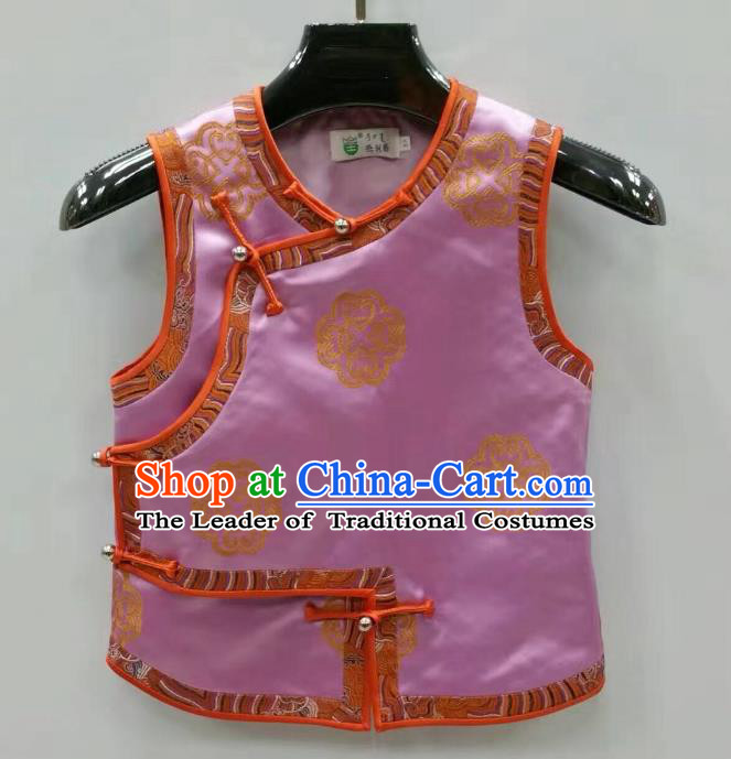 Traditional Chinese Mongol Nationality Dance Costume Handmade Mongolian Vest, China Mongolian Minority Nationality Pink Waistcoat for Kids