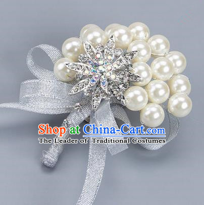 Top Grade Wedding Accessories Decoration Pearl Corsage, China Style Wedding Ornament Champagne Bride Bridegroom Grey Ribbon Crystal Brooch