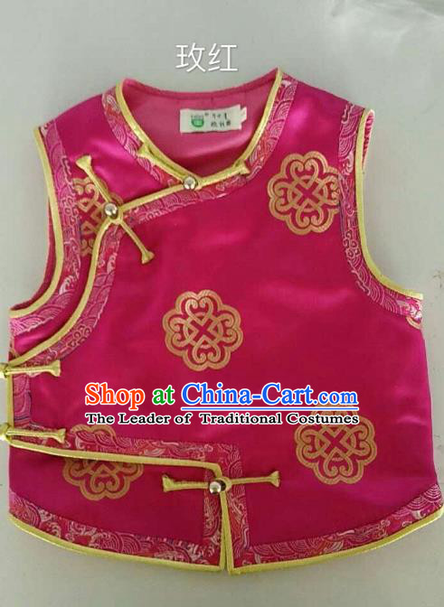 Traditional Chinese Mongol Nationality Dance Costume Handmade Mongolian Vest, China Mongolian Minority Nationality Rosy Waistcoat for Kids