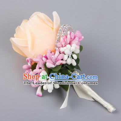 Top Grade Wedding Accessories Decoration Flower Corsage, China Style Wedding Ornament Champagne Bridegroom Champagne Rose Brooch