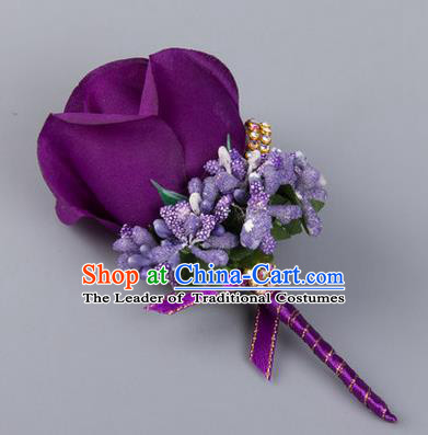 Top Grade Wedding Accessories Decoration Flower Corsage, China Style Wedding Ornament Champagne Bridegroom Purple Rose Brooch