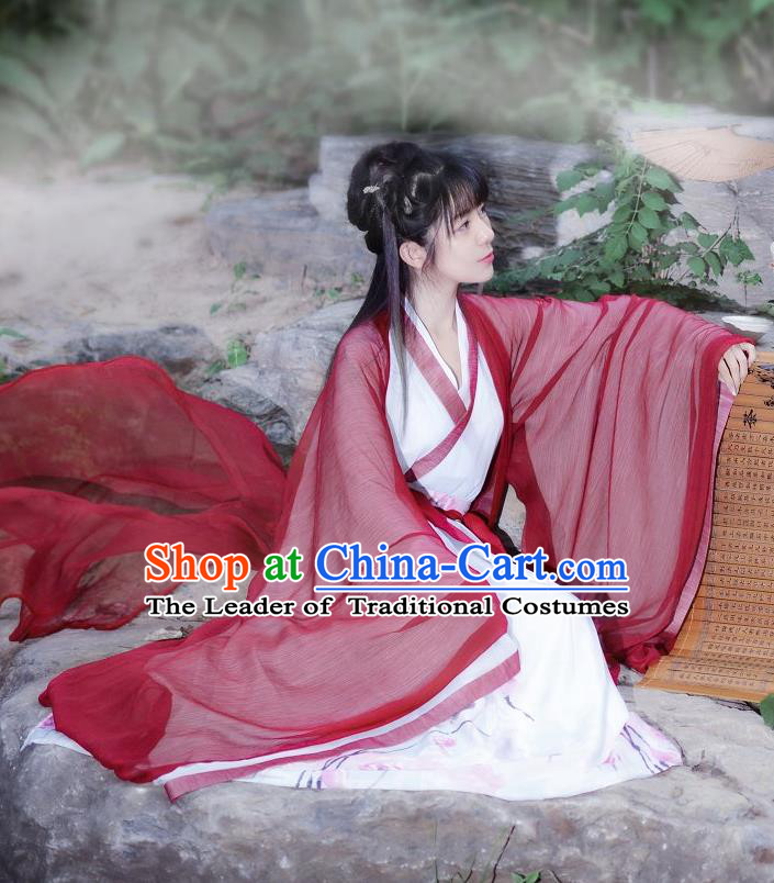 Traditional Ancient Chinese Costume Jin Dynasty Big Sleeve Cardigan Blouse and Dress, Elegant Hanfu Clothing Chinese Palace Princess Costume for Women
