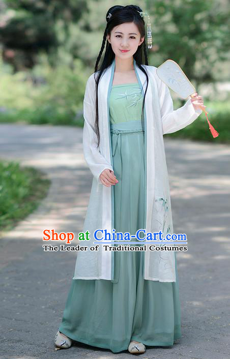Traditional Ancient Chinese Costume Song Dynasty Young Lady Embroidery Bamboo BeiZi Blouse and Dress, Elegant Hanfu Clothing Chinese Palace Princess Costume for Women