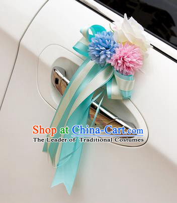 Top Grade Wedding Accessories Decoration, China Style Wedding Car Ornament Blue and Pink Flowers Bride Silk Ribbon Garlands