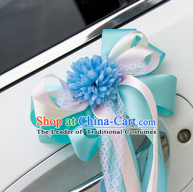 Top Grade Wedding Accessories Decoration, China Style Wedding Car Ornament Bowknot Flowers Bride Blue Silk Ribbon Garlands