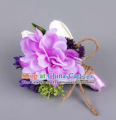 Top Grade Classical Wedding Silk Flowers,Groom Emulational Corsage Groomsman Purple Brooch Flowers for Men