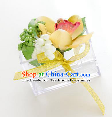 Top Grade Classical Wedding Yellow Silk Whelan Flowers,Groom Emulational Corsage Groomsman Brooch Flowers for Men