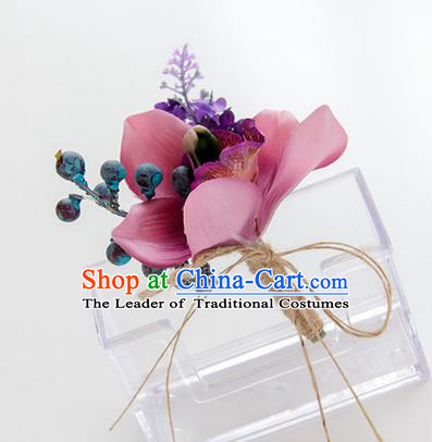 Top Grade Classical Wedding Bacca Pink Silk Flowers,Groom Emulational Corsage Groomsman Brooch Flowers for Men