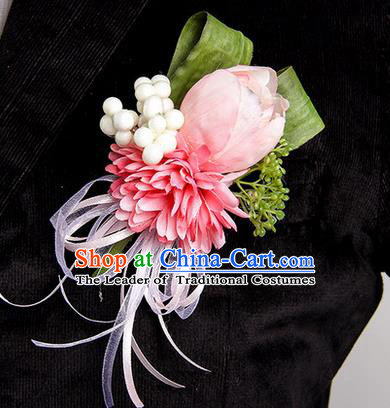 Top Grade Classical Wedding Pink Silk Tulipa Flowers,Groom Emulational Corsage Groomsman Brooch Flowers for Men