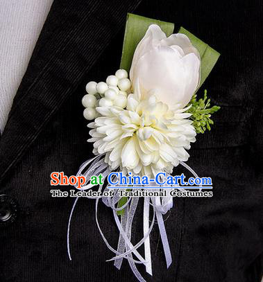 Top Grade Classical Wedding White Silk Tulipa Flowers,Groom Emulational Corsage Groomsman Brooch Flowers for Men