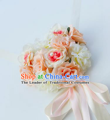 Top Grade Wedding Accessories Decoration, China Style Wedding Car Bowknot Champagne Rose Flowers Ribbon Garlands Ornaments