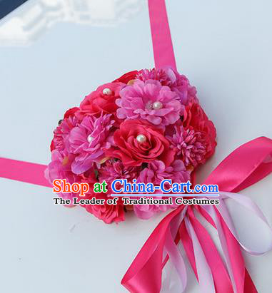 Top Grade Wedding Accessories Decoration, China Style Wedding Car Bowknot Rosy Rose Flowers Ribbon Garlands Ornaments