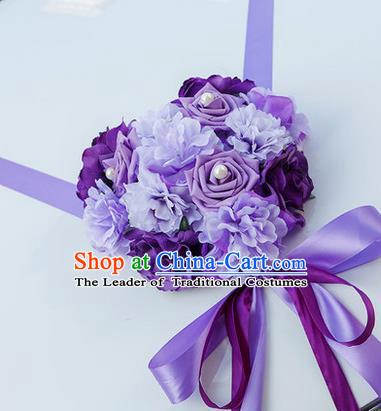 Top Grade Wedding Accessories Decoration, China Style Wedding Car Bowknot Purple Rose Flowers Ribbon Garlands Ornaments