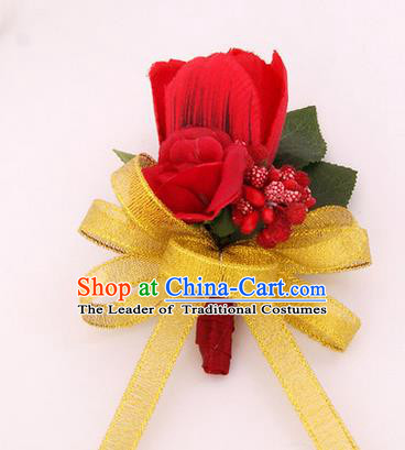 Top Grade Classical Wedding Rosy Silk Flowers,Groom Emulational Corsage Groomsman Brooch Flowers for Men