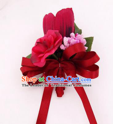 Top Grade Classical Wedding Red Silk Flowers,Groom Emulational Corsage Groomsman Brooch Flowers for Men